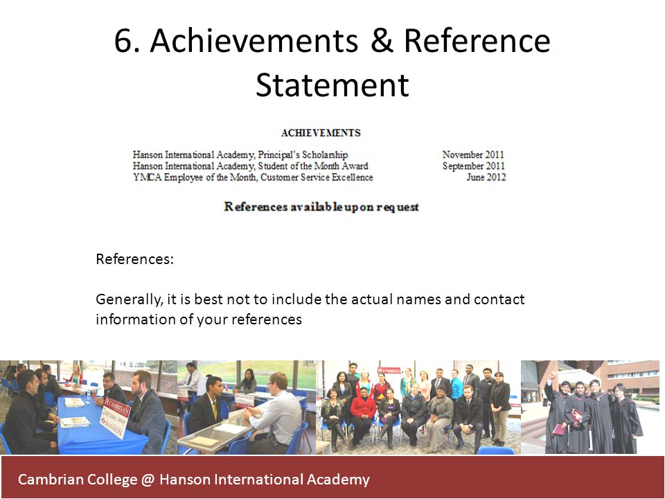 6. Achievements & Reference Statement