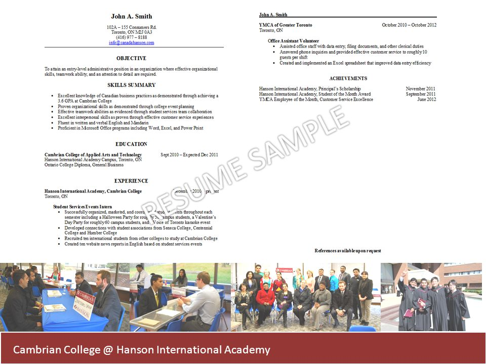 RESUME SAMPLE Cambrian College @ Hanson International Academy
