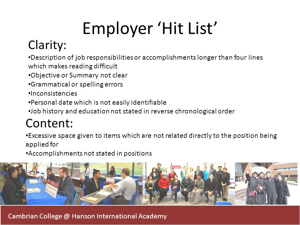 Employer 'Hit List' Clarity: Content: