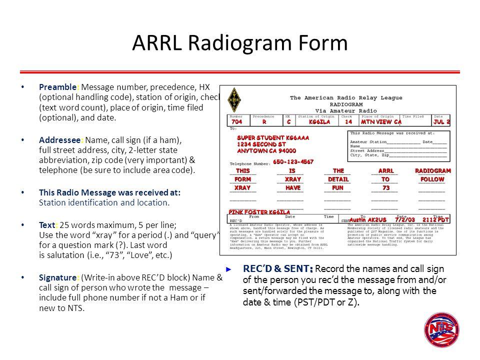 ARRL Radiogram Form