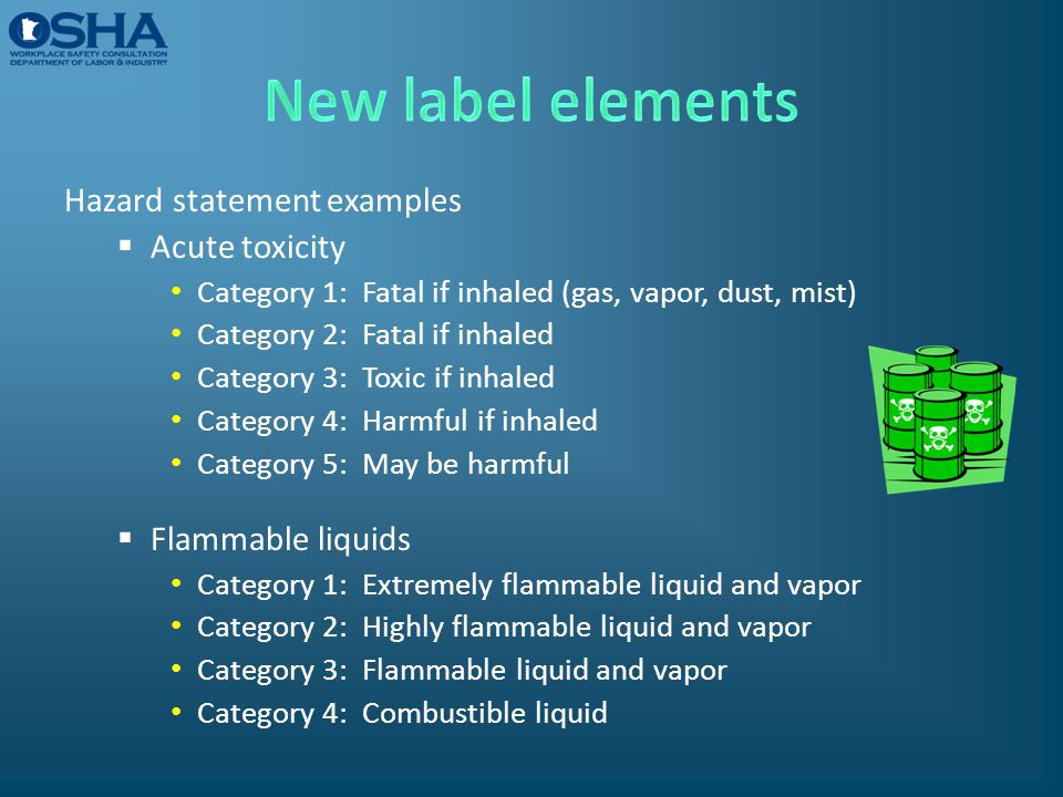 New label elements Hazard statement examples Acute toxicity