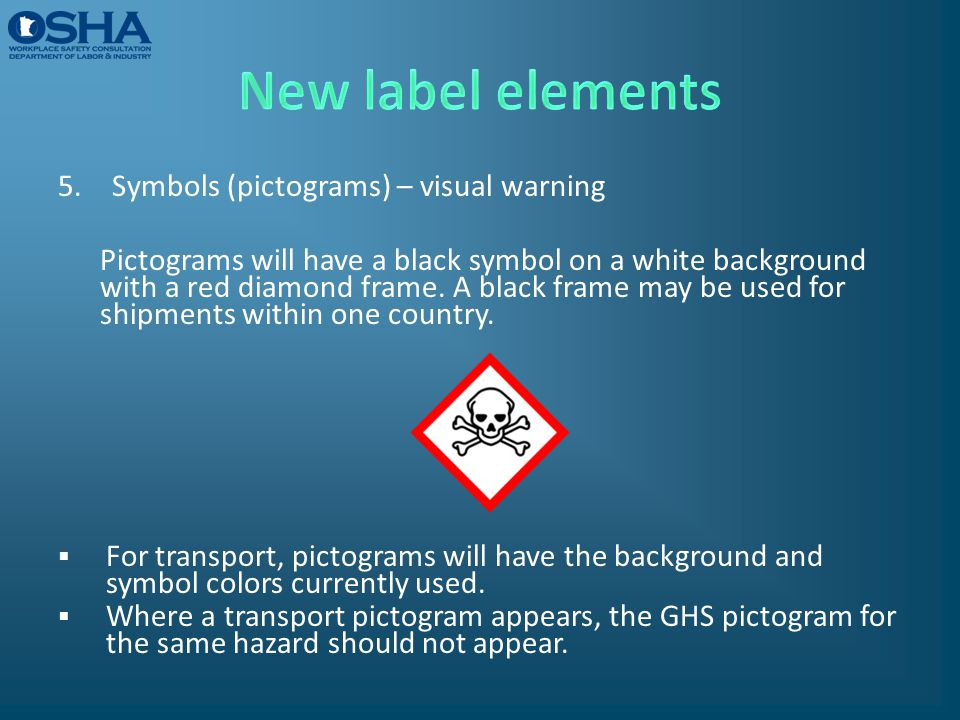 New label elements Symbols (pictograms) – visual warning