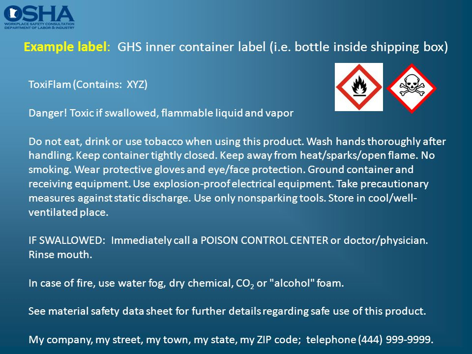Example label: GHS inner container label (i. e