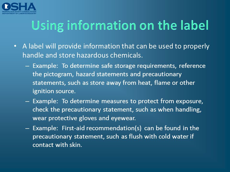 Using information on the label
