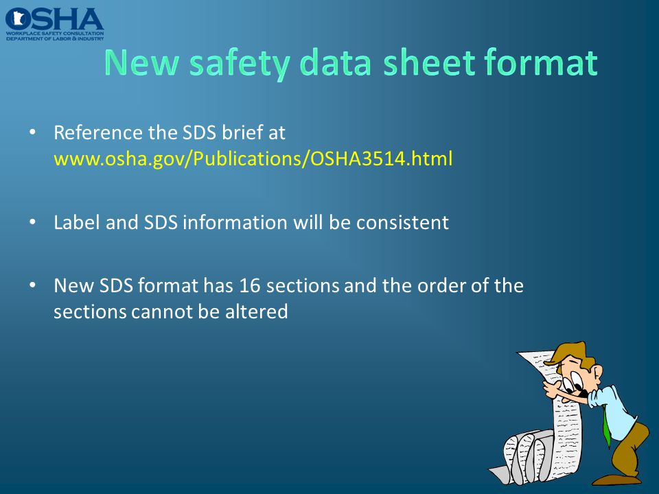 New safety data sheet format