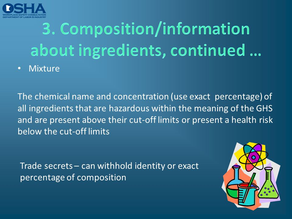 3. Composition/information about ingredients, continued …