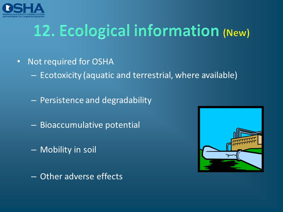 12. Ecological information (New)