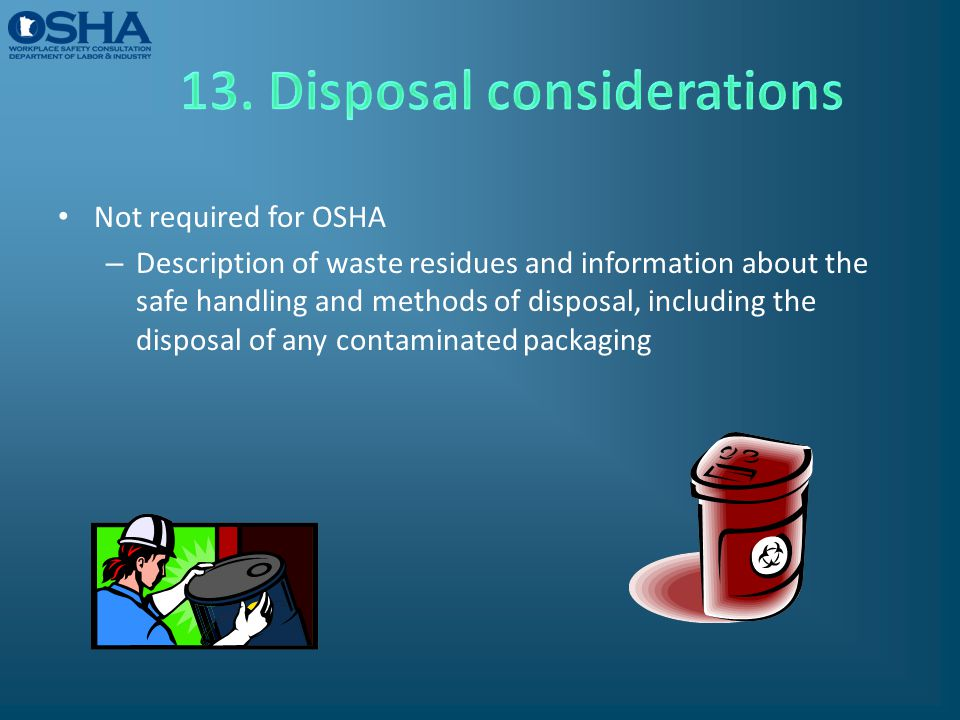 13. Disposal considerations