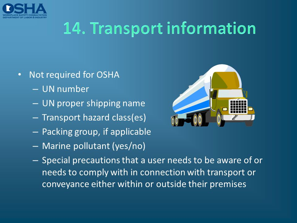 14. Transport information