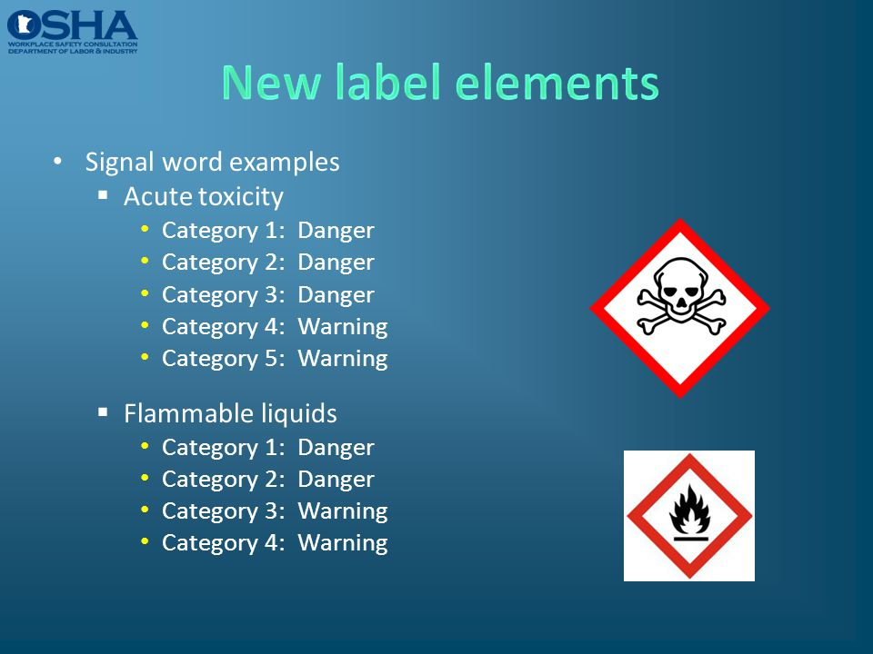 New label elements Signal word examples Acute toxicity