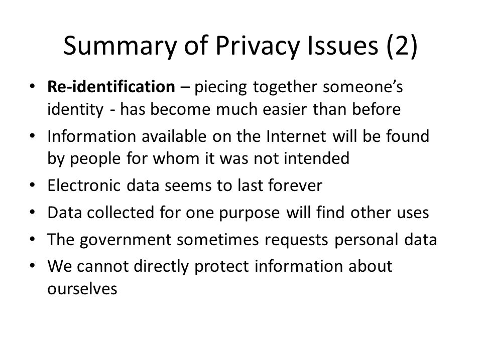 Summary of Privacy Issues (2)