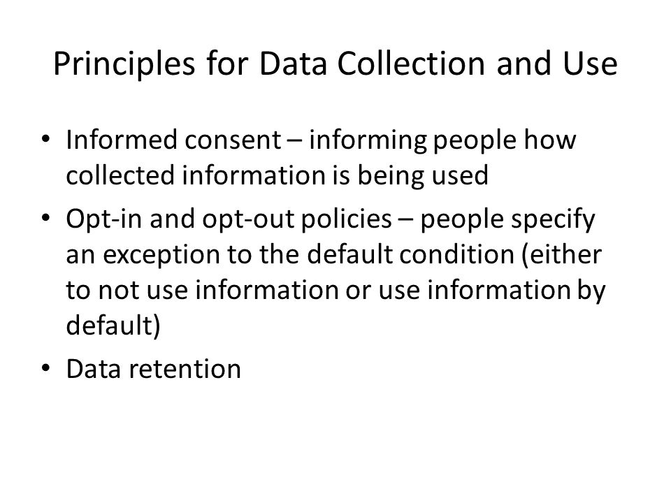 Principles for Data Collection and Use