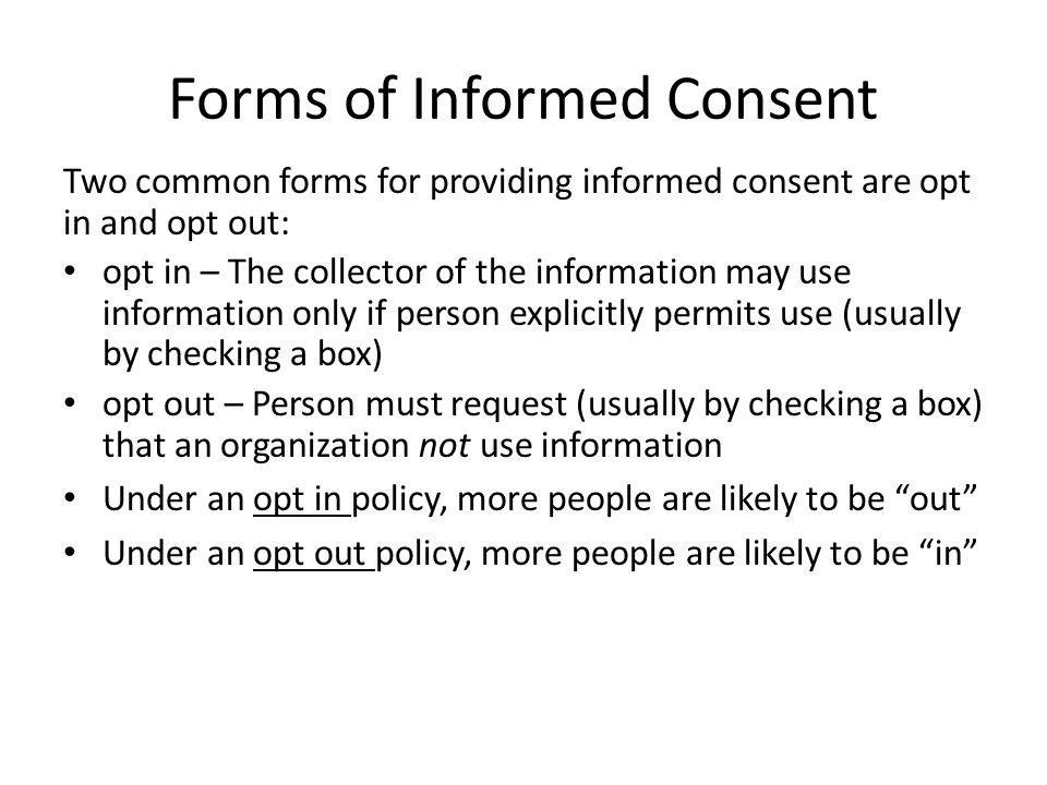 Forms of Informed Consent