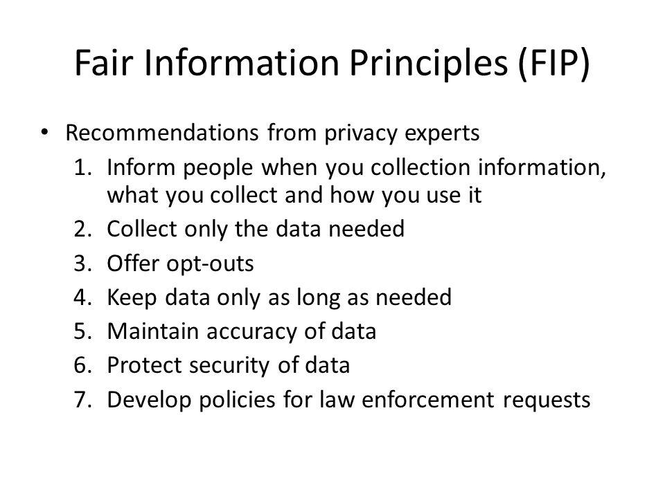 Fair Information Principles (FIP)
