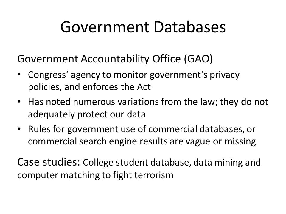 Government Databases Government Accountability Office (GAO)