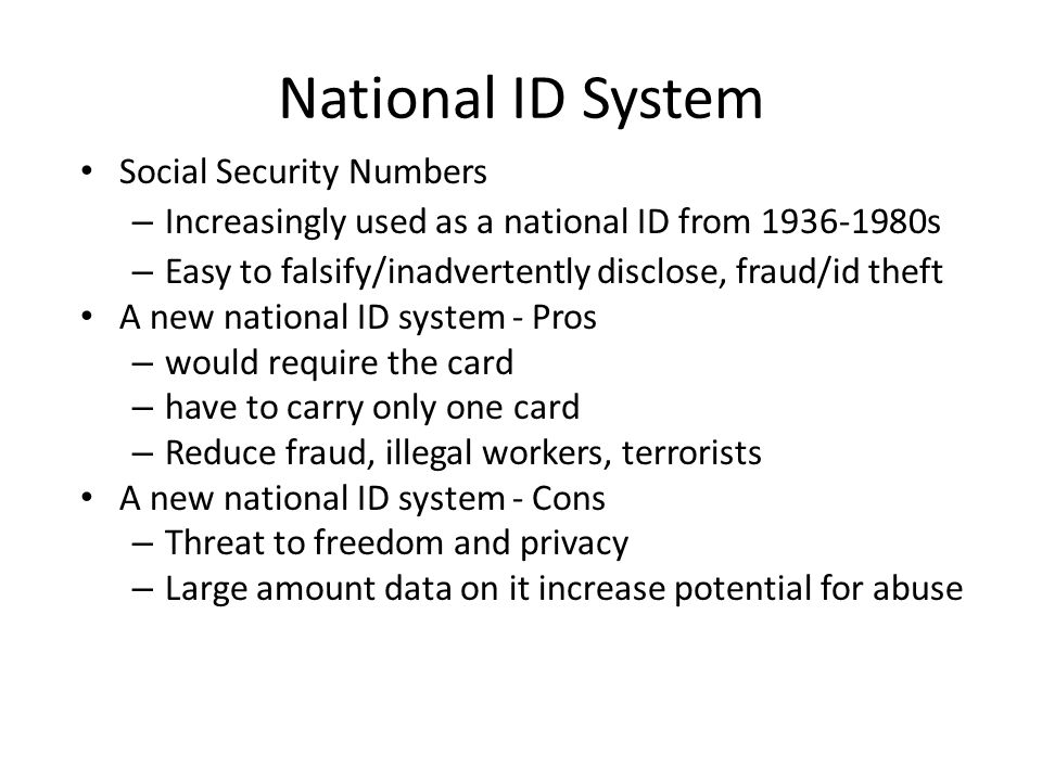 National ID System Social Security Numbers