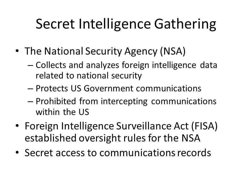 Secret Intelligence Gathering