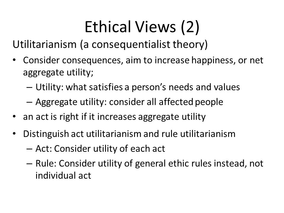 Ethical Views (2) Utilitarianism (a consequentialist theory)