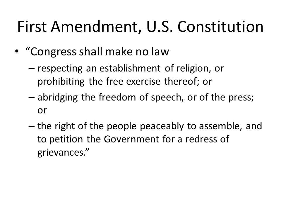 First Amendment, U.S. Constitution