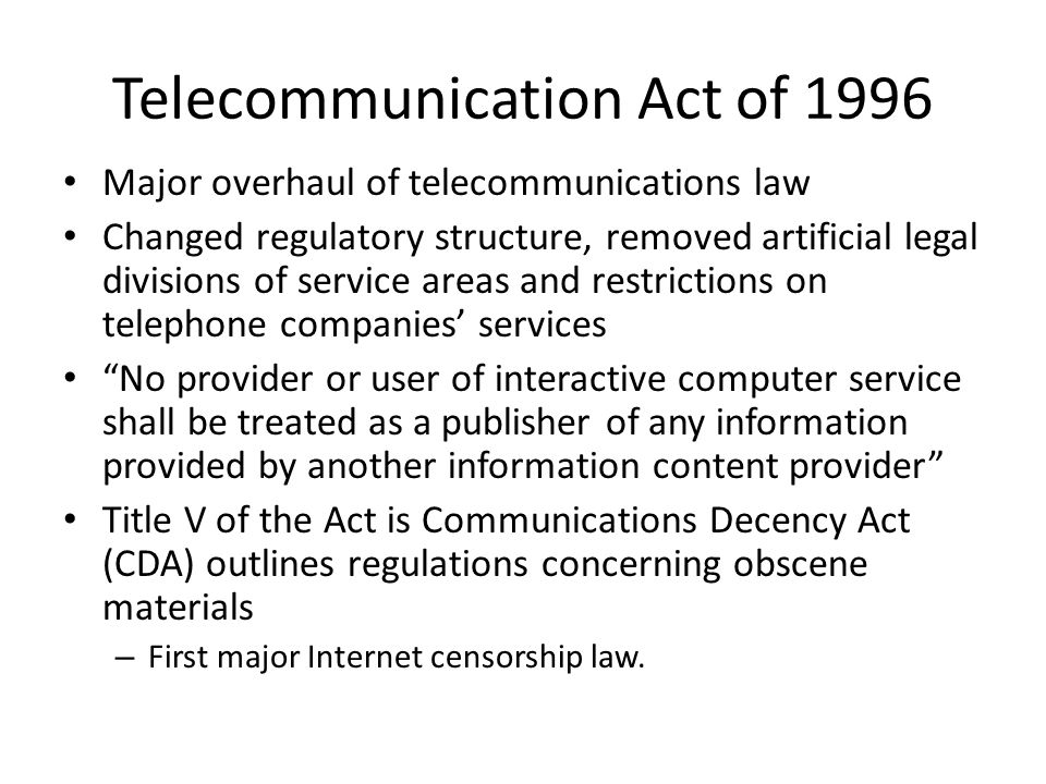 a brief look at the us telecommunications act of 1996 The divestiture of at&t and the telecommunications act of 1996 had a major impact in the united states 1 the divestiture of the bell operating companies from at&t was one of the critical events of the 1980s that continues in importance today give a brief description of the rationale for.
