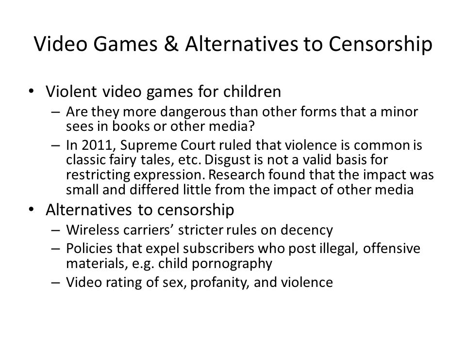 Video Games & Alternatives to Censorship