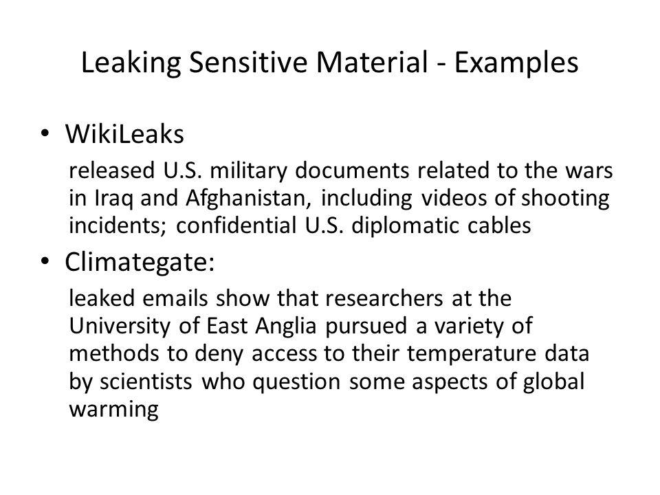 Leaking Sensitive Material - Examples