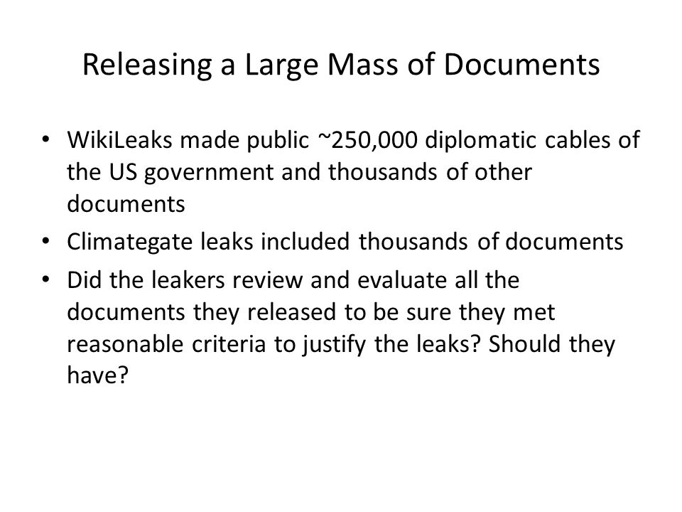 Releasing a Large Mass of Documents