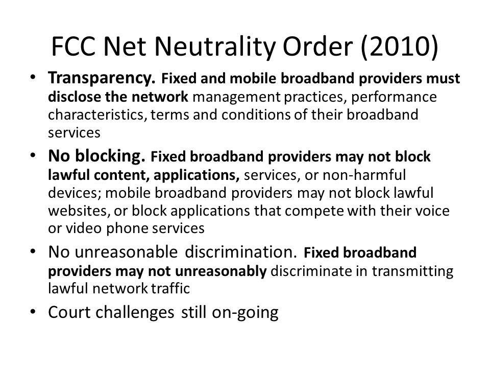 FCC Net Neutrality Order (2010)