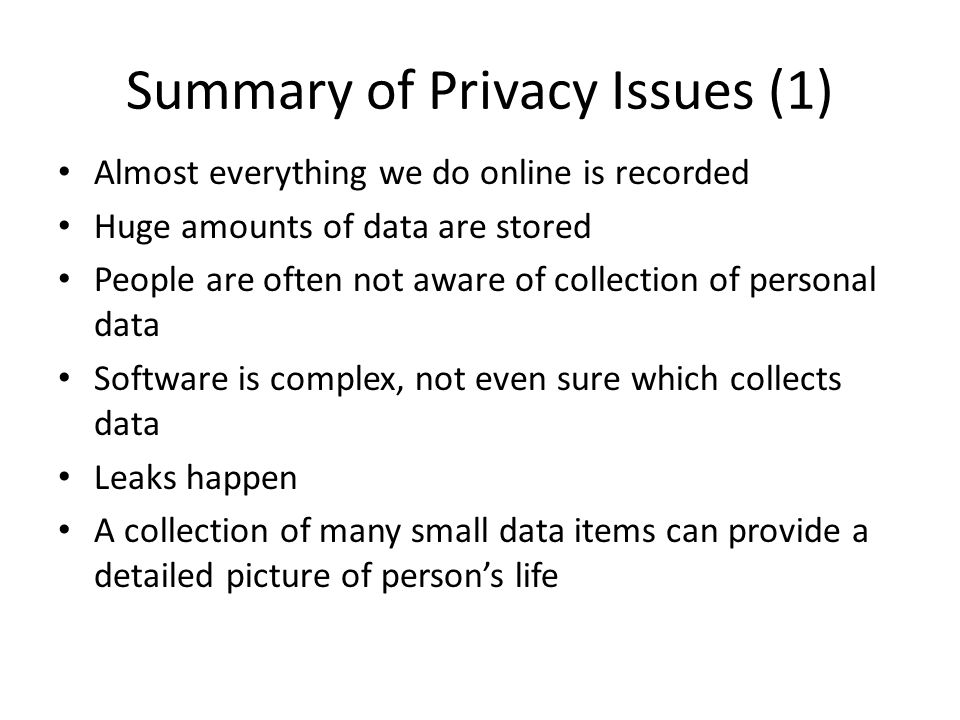 Summary of Privacy Issues (1)