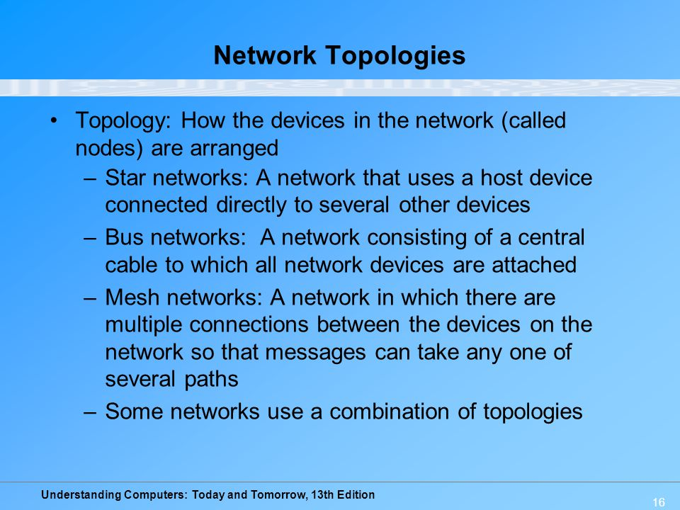 Network Topologies Topology: How the devices in the network (called nodes) are arranged.