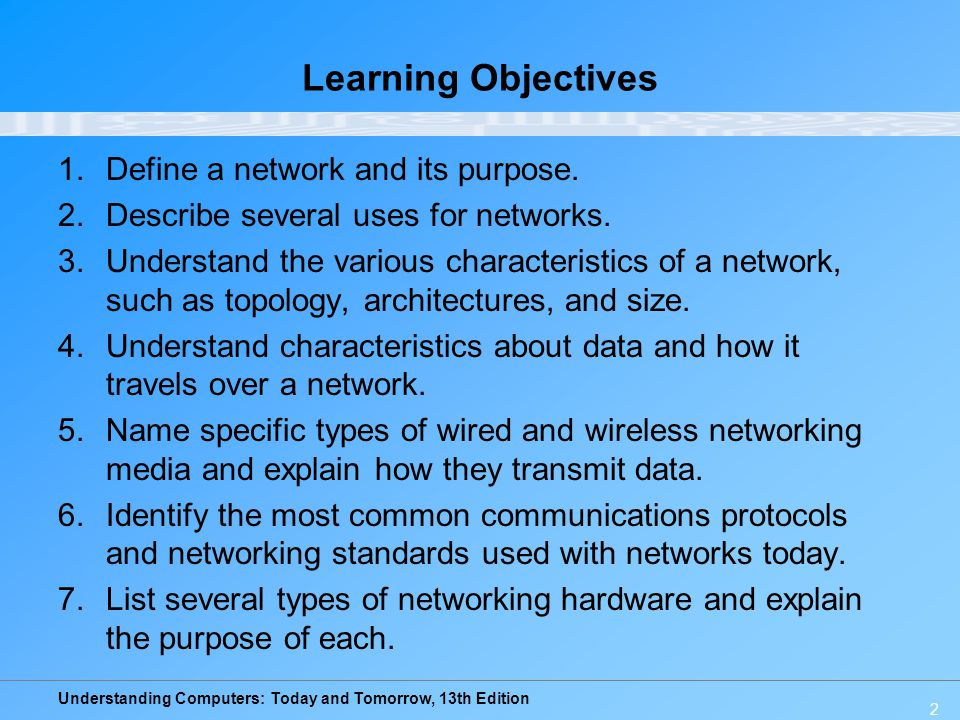 Learning Objectives Define a network and its purpose.