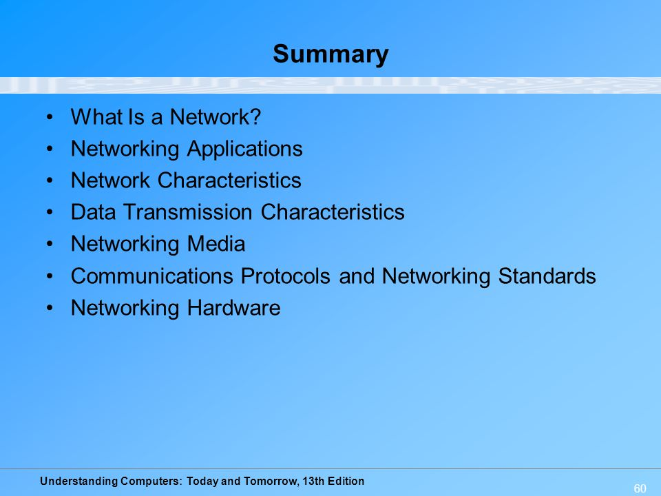 Summary What Is a Network Networking Applications