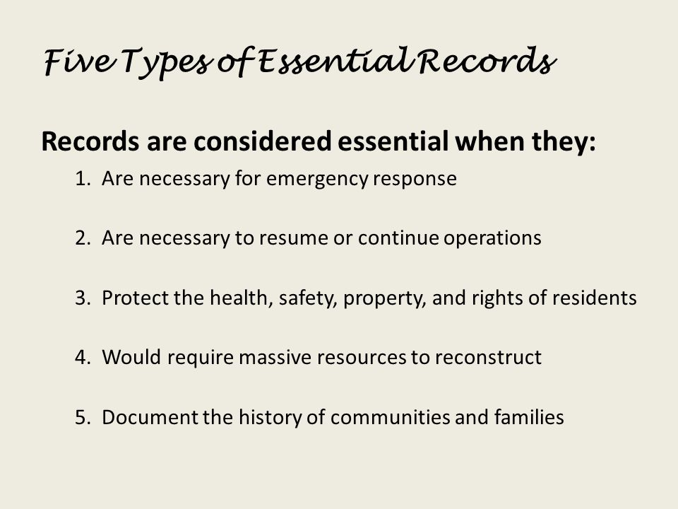 Five Types of Essential Records