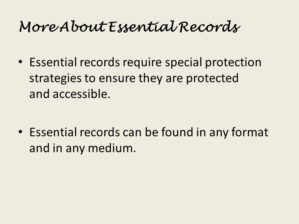 More About Essential Records
