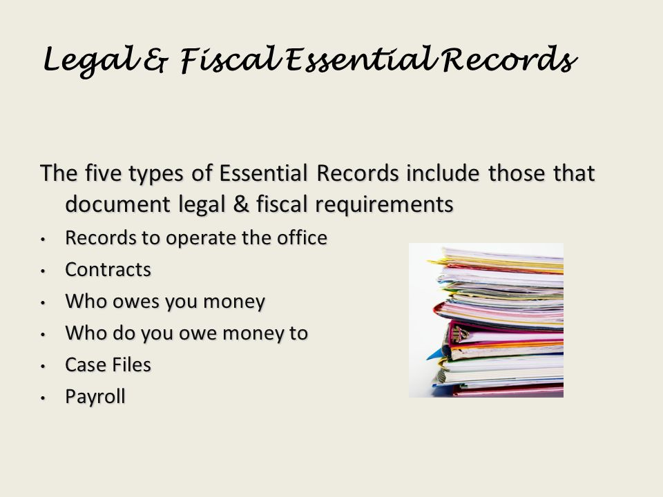 Legal & Fiscal Essential Records