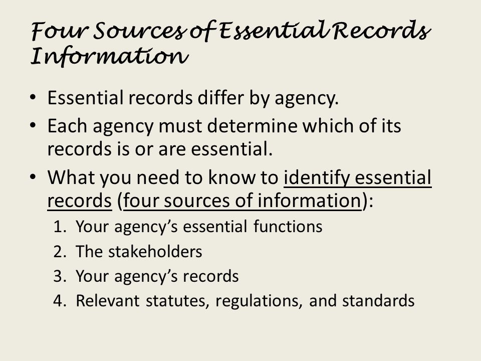 Four Sources of Essential Records Information