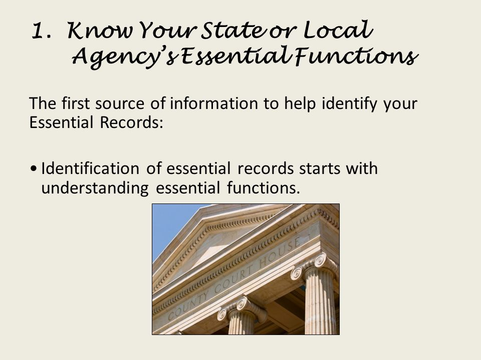 1. Know Your State or Local Agency's Essential Functions
