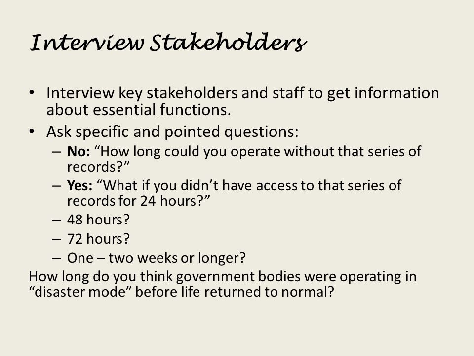 Interview Stakeholders