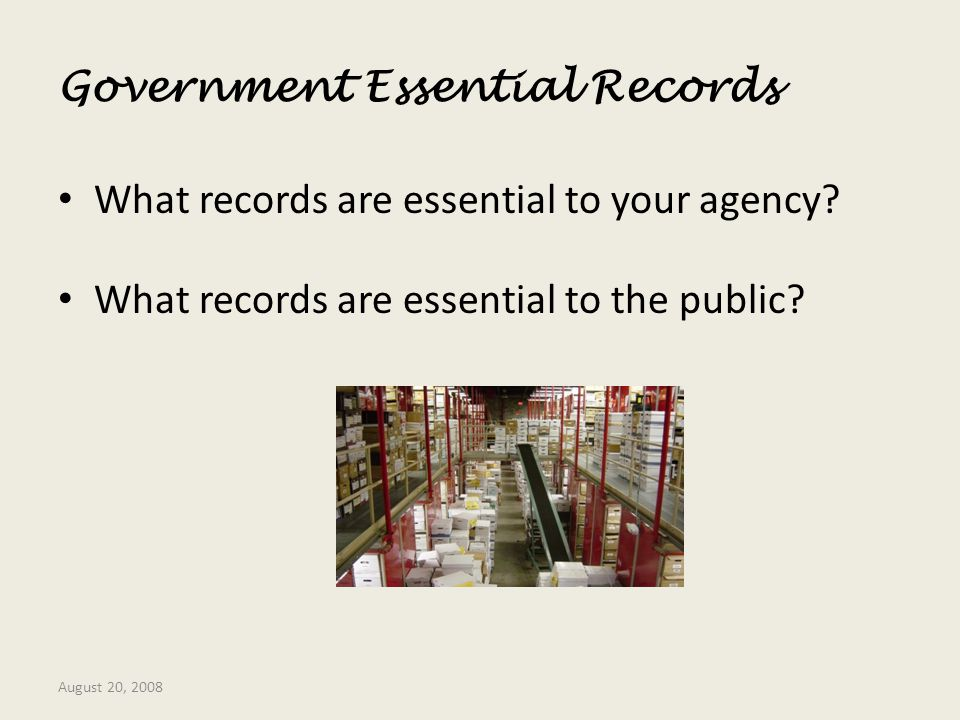 Government Essential Records
