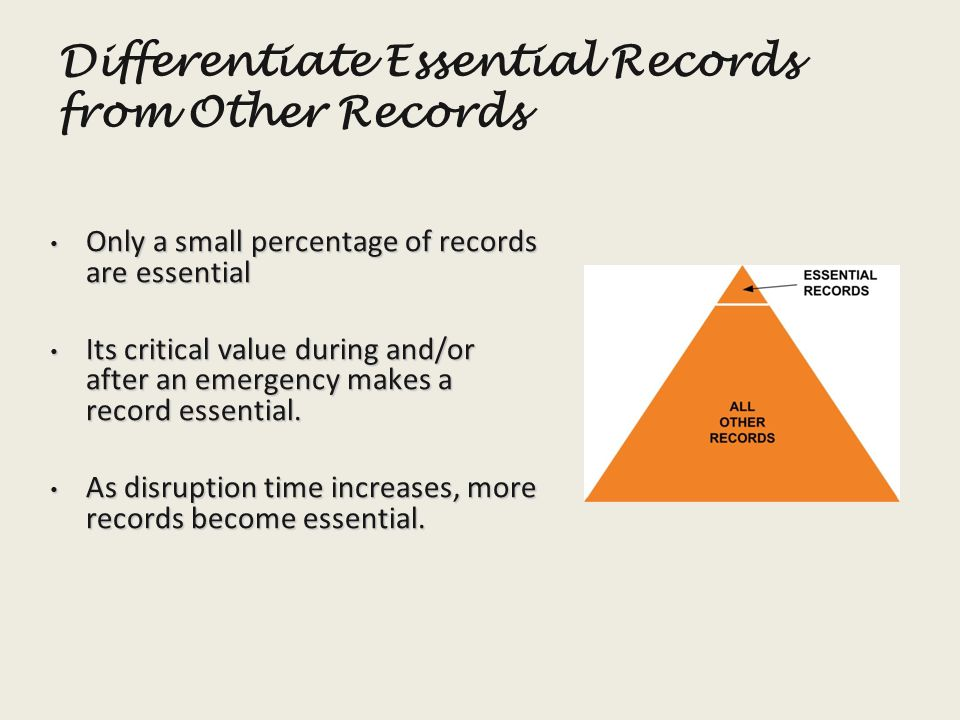 Differentiate Essential Records from Other Records