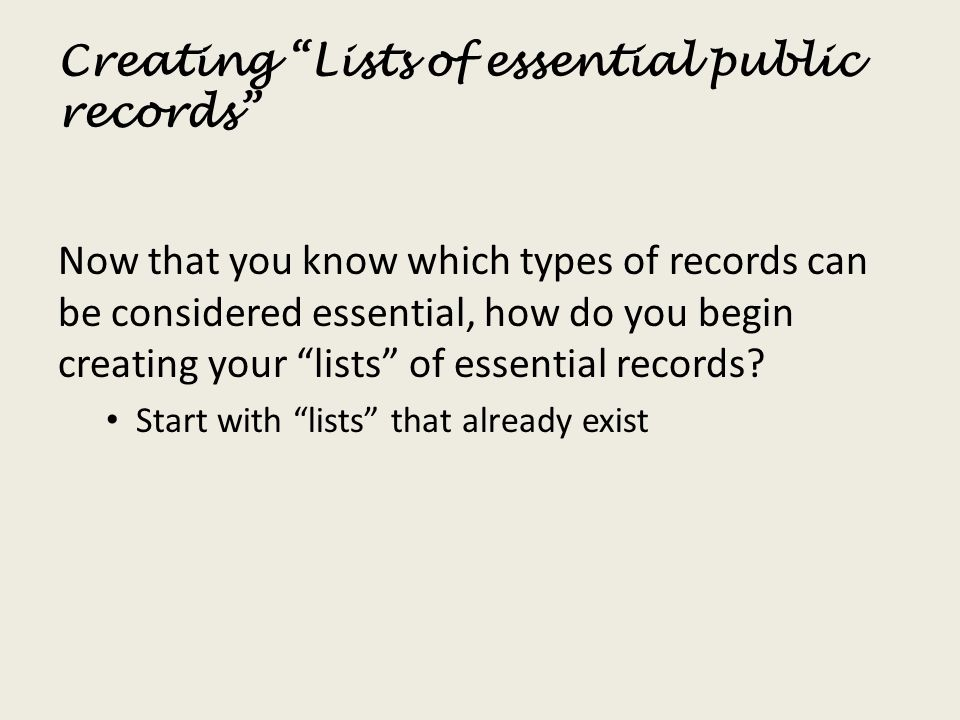 Creating Lists of essential public records