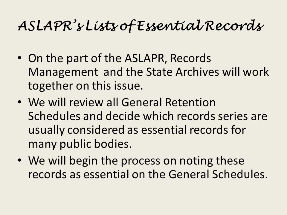 ASLAPR's Lists of Essential Records
