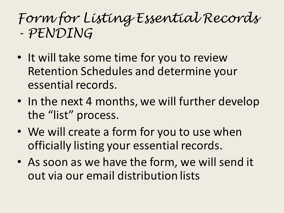 Form for Listing Essential Records - PENDING