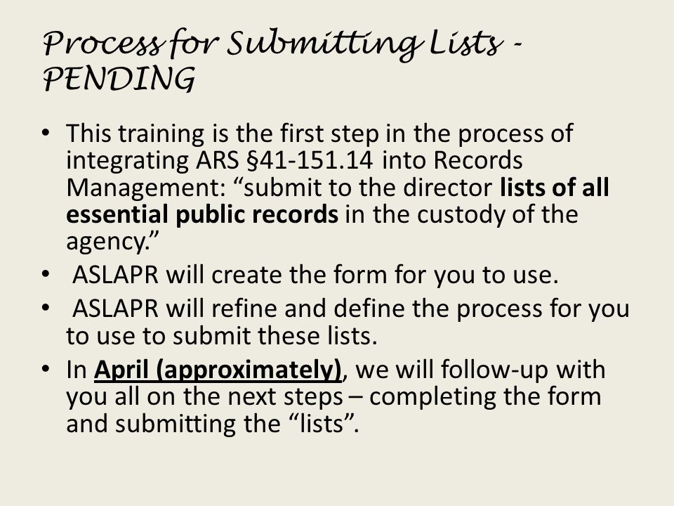 Process for Submitting Lists - PENDING