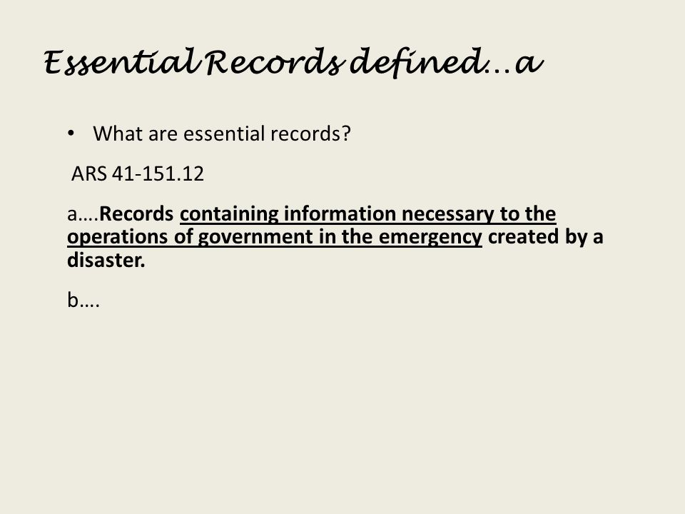 Essential Records defined…a