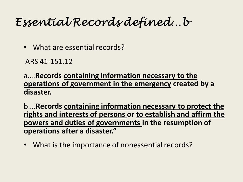 Essential Records defined…b