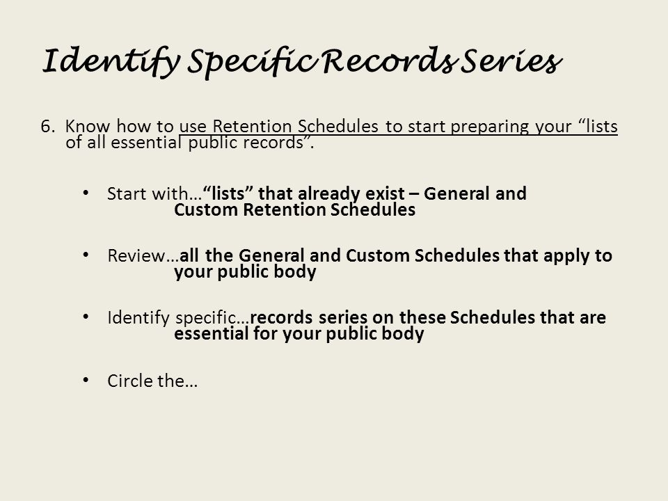 Identify Specific Records Series