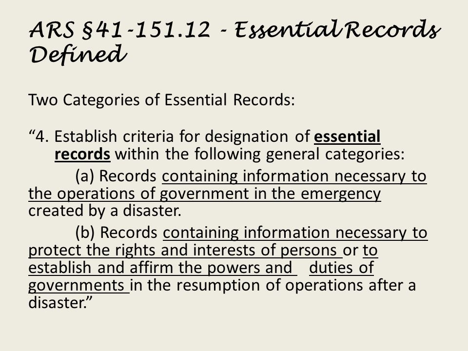 ARS §41-151.12 - Essential Records Defined