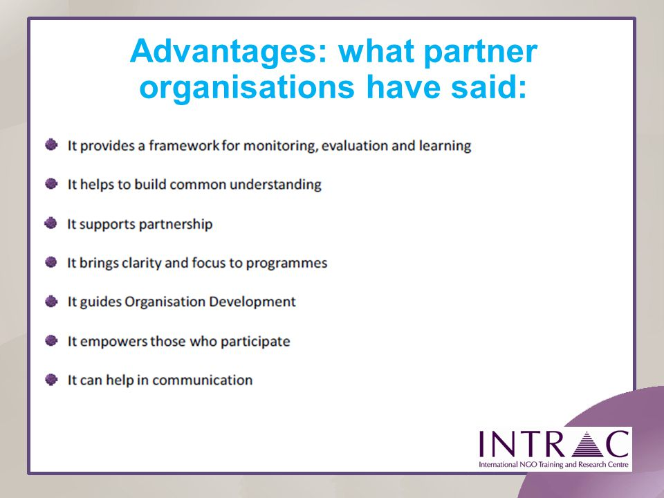 Advantages: what partner organisations have said: