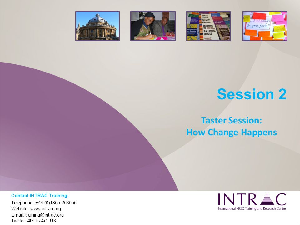 Session 2 Taster Session: How Change Happens Contact INTRAC Training: